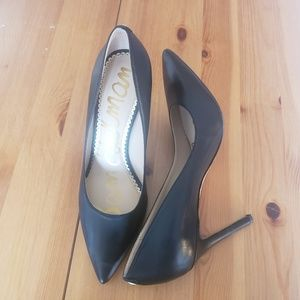 Sam Edelman Hazel Black Leather Pump Heel Size 7